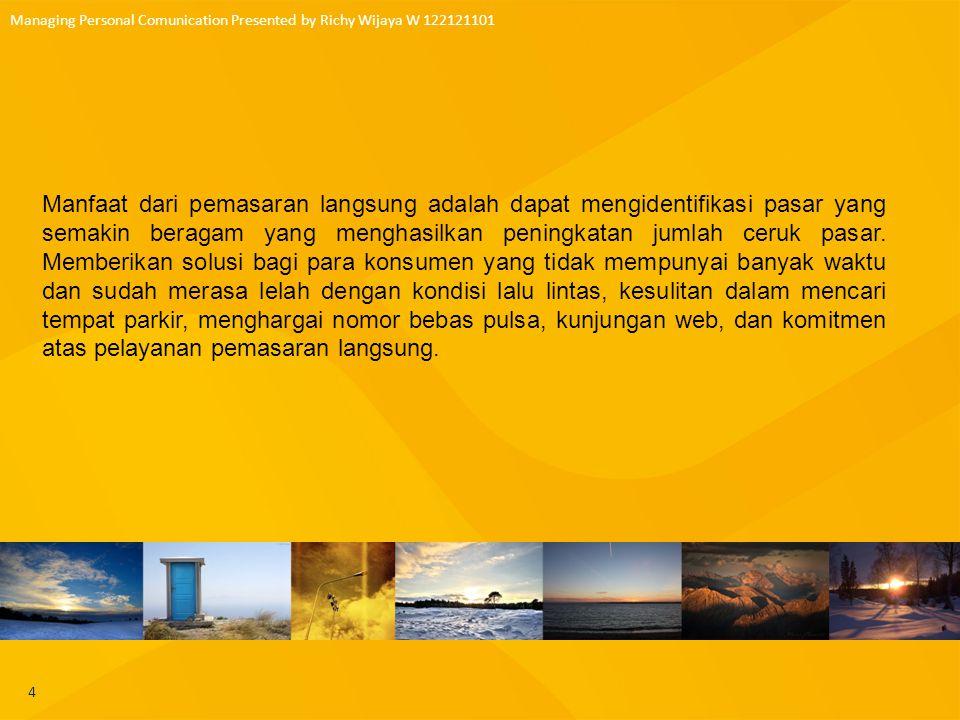 5 Managing Personal Comunication Presented by Richy Wijaya W 122121101 Gambar surat dan kotak pos rumah Surat Langsung Tujuan Pasar Sasaran dan Prospek Elemen Penawaran PengujianPengukuran