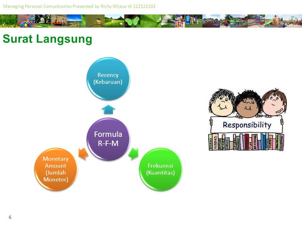 7 Managing Personal Comunication Presented by Richy Wijaya W 122121101 Surat Langsung Elemen Penawaran ProdukPenawaranMedia Metode Distribusi Strategi Kreatif