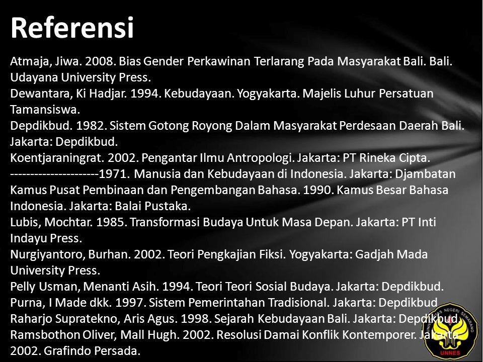 Referensi Atmaja, Jiwa. 2008. Bias Gender Perkawinan Terlarang Pada Masyarakat Bali.