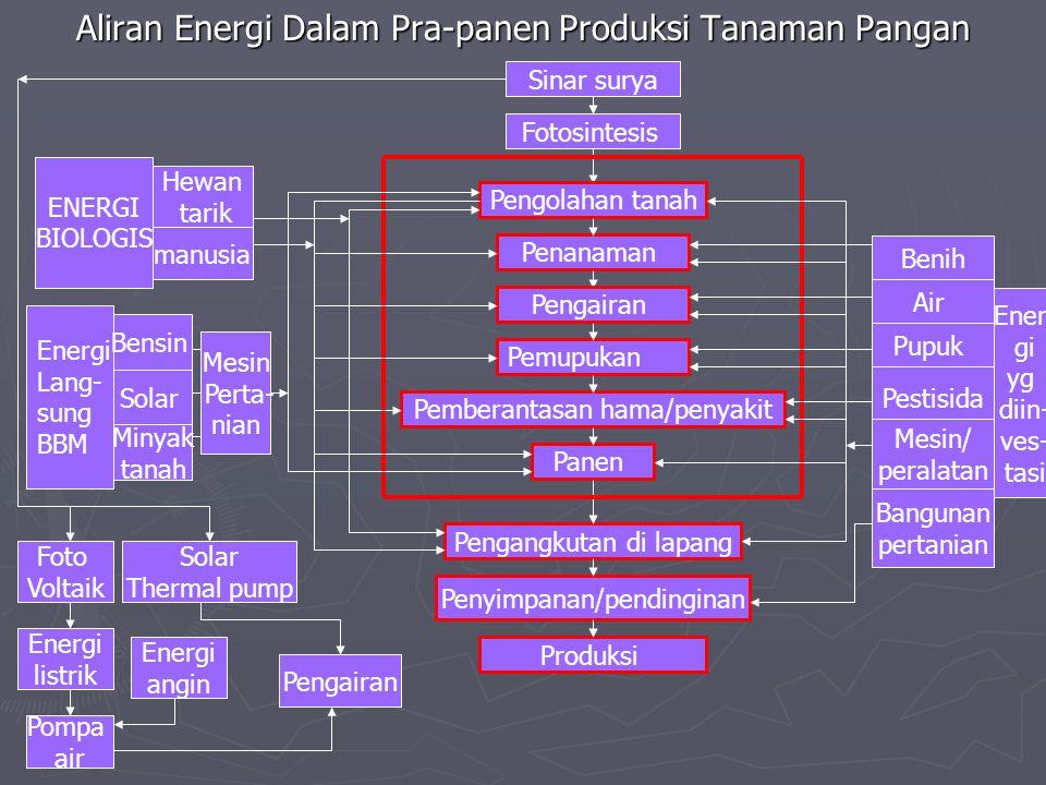 Aliran Energi Dalam Pra-panen Produksi Tanaman Pangan Sinar surya Fotosintesis Pengolahan tanah Penanaman Pengairan Pemupukan Pemberantasan hama/penya