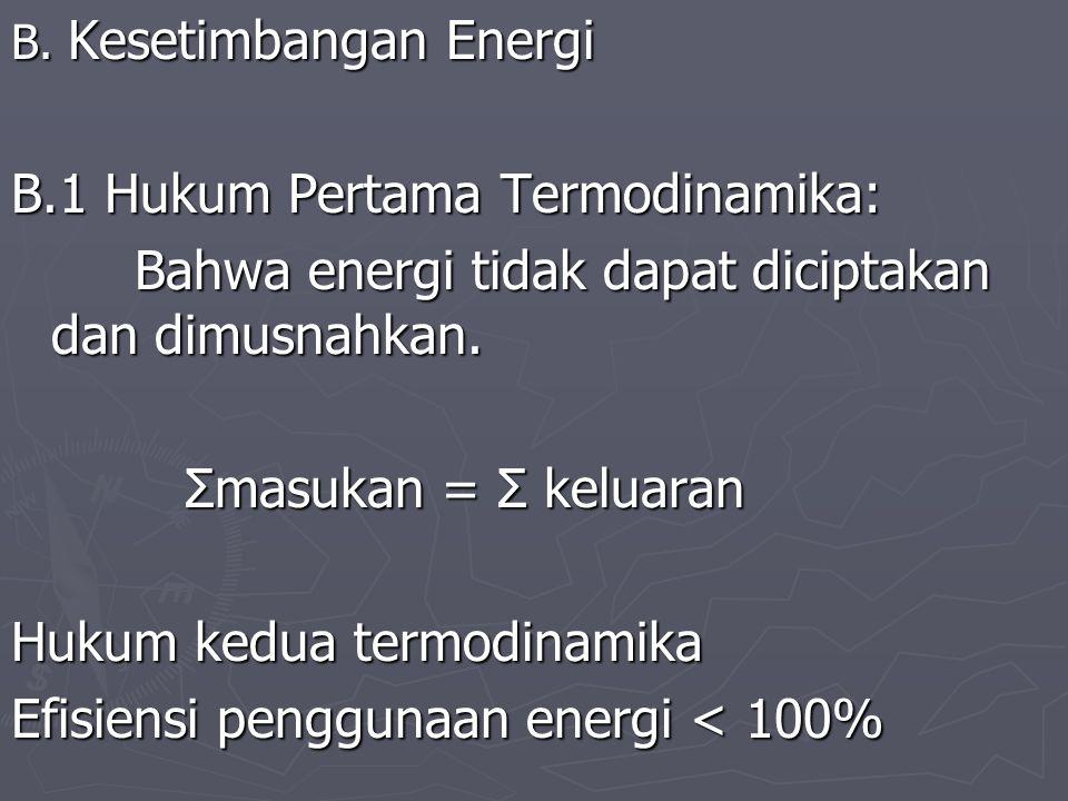 B. Kesetimbangan Energi B.1 Hukum Pertama Termodinamika: Bahwa energi tidak dapat diciptakan dan dimusnahkan. Bahwa energi tidak dapat diciptakan dan