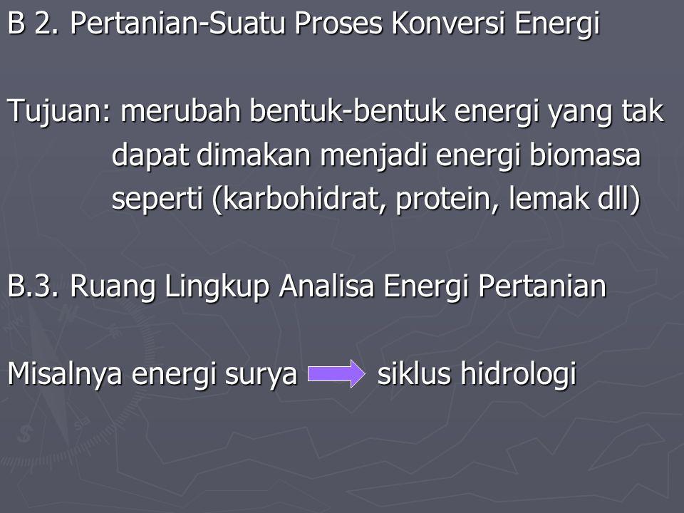 B 2. Pertanian-Suatu Proses Konversi Energi Tujuan: merubah bentuk-bentuk energi yang tak dapat dimakan menjadi energi biomasa dapat dimakan menjadi e