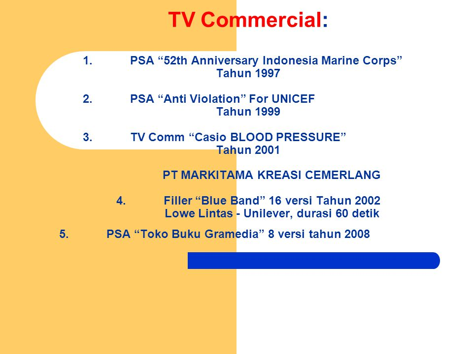 TV Commercial: 1.