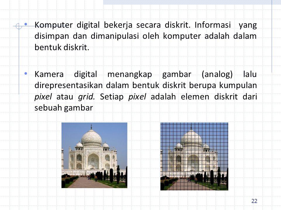 22 Komputer digital bekerja secara diskrit.