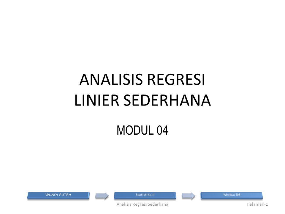 ANALISIS REGRESI LINIER SEDERHANA MODUL 04 Halaman-1Analisis Regresi Sederhana
