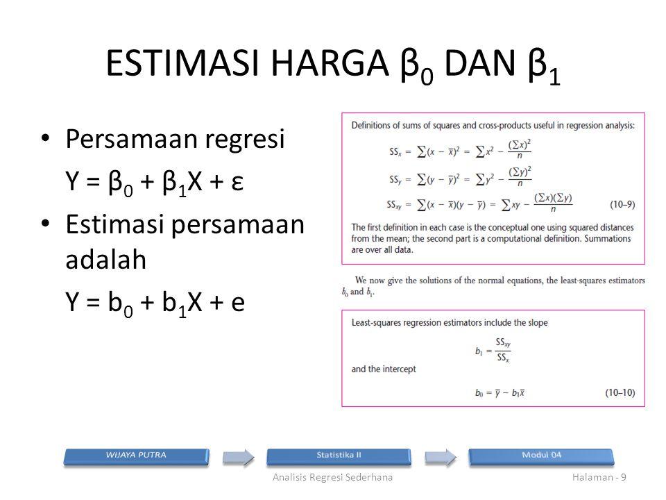 ESTIMASI HARGA ERROR β 0 DAN β 1 Nilai βo dan β1 bersifat di estimasi, sehingga akan menghasilkan rentang nilai dengan simpangan sebesar s(b0) dan s(b1) Semakin kecil harga simpangan berarti semakin meyakinkan hasil estimasi tersebut Analisis Regresi SederhanaHalaman - 10