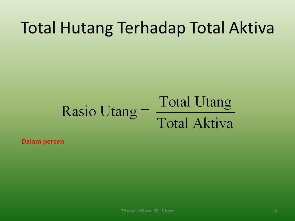Total Hutang Terhadap Total Aktiva 14Trisnadi Wijaya, SE., S.Kom Dalam persen