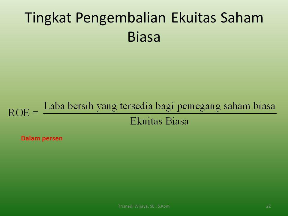 Tingkat Pengembalian Ekuitas Saham Biasa 22Trisnadi Wijaya, SE., S.Kom Dalam persen