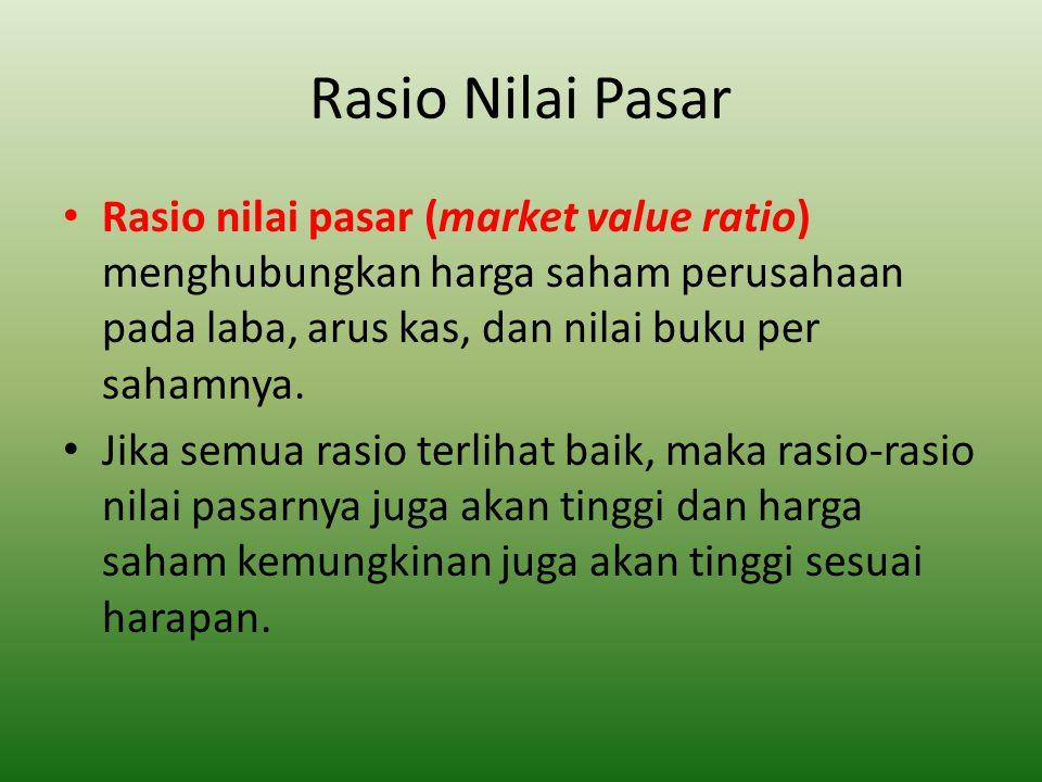 Rasio Nilai Pasar Rasio nilai pasar (market value ratio) menghubungkan harga saham perusahaan pada laba, arus kas, dan nilai buku per sahamnya. Jika s