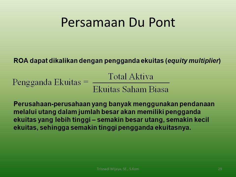 Persamaan Du Pont Trisnadi Wijaya, SE., S.Kom29 ROA dapat dikalikan dengan pengganda ekuitas (equity multiplier) Perusahaan-perusahaan yang banyak men