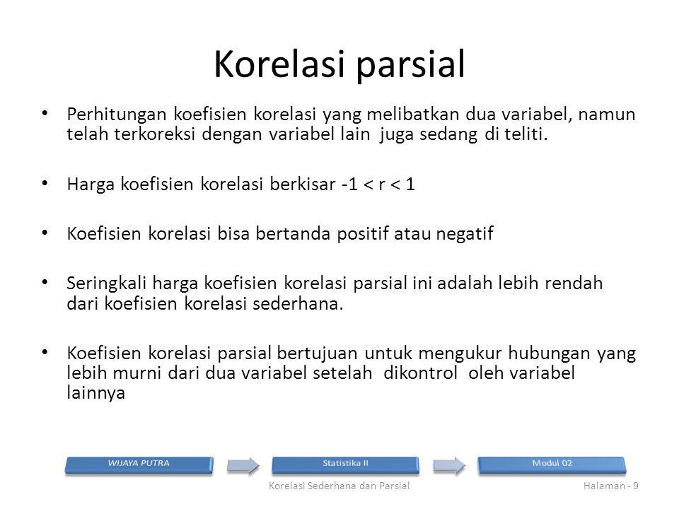 Korelasi parsial Perhitungan koefisien korelasi yang melibatkan dua variabel, namun telah terkoreksi dengan variabel lain juga sedang di teliti. Harga