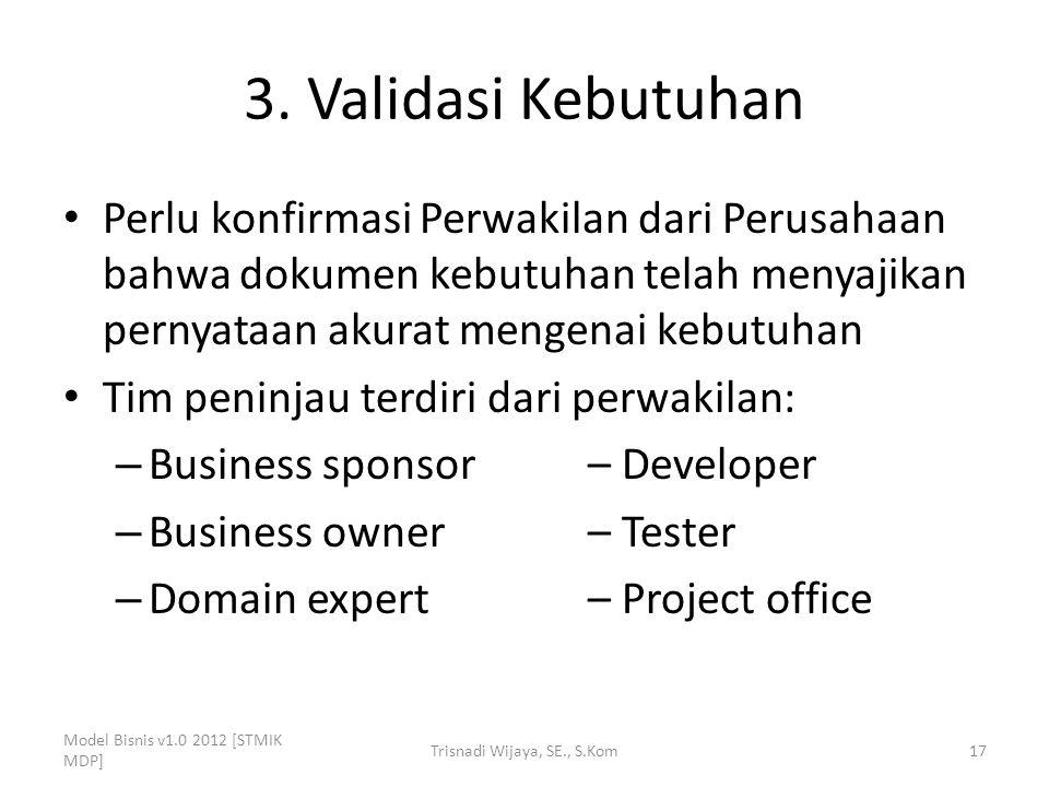 3. Validasi Kebutuhan Perlu konfirmasi Perwakilan dari Perusahaan bahwa dokumen kebutuhan telah menyajikan pernyataan akurat mengenai kebutuhan Tim pe