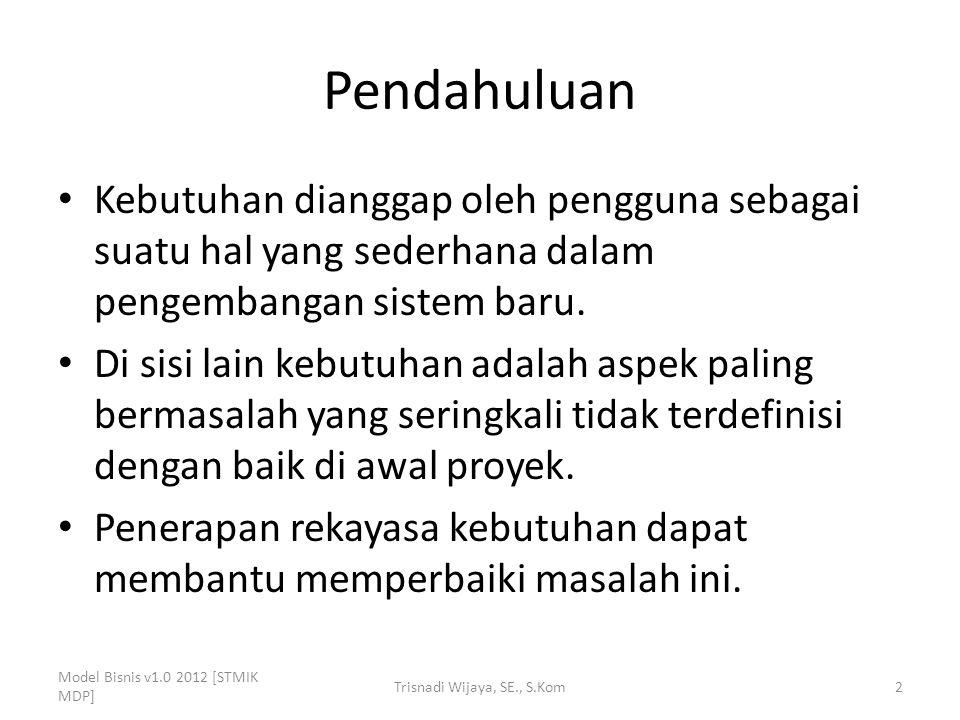 Membangun Daftar Kebutuhan Model Bisnis v1.0 2012 [STMIK MDP] Trisnadi Wijaya, SE., S.Kom13