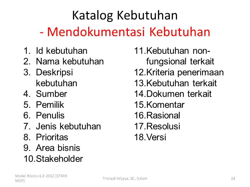 Katalog Kebutuhan - Mendokumentasi Kebutuhan Model Bisnis v1.0 2012 [STMIK MDP] Trisnadi Wijaya, SE., S.Kom24 1.Id kebutuhan 2.Nama kebutuhan 3.Deskri