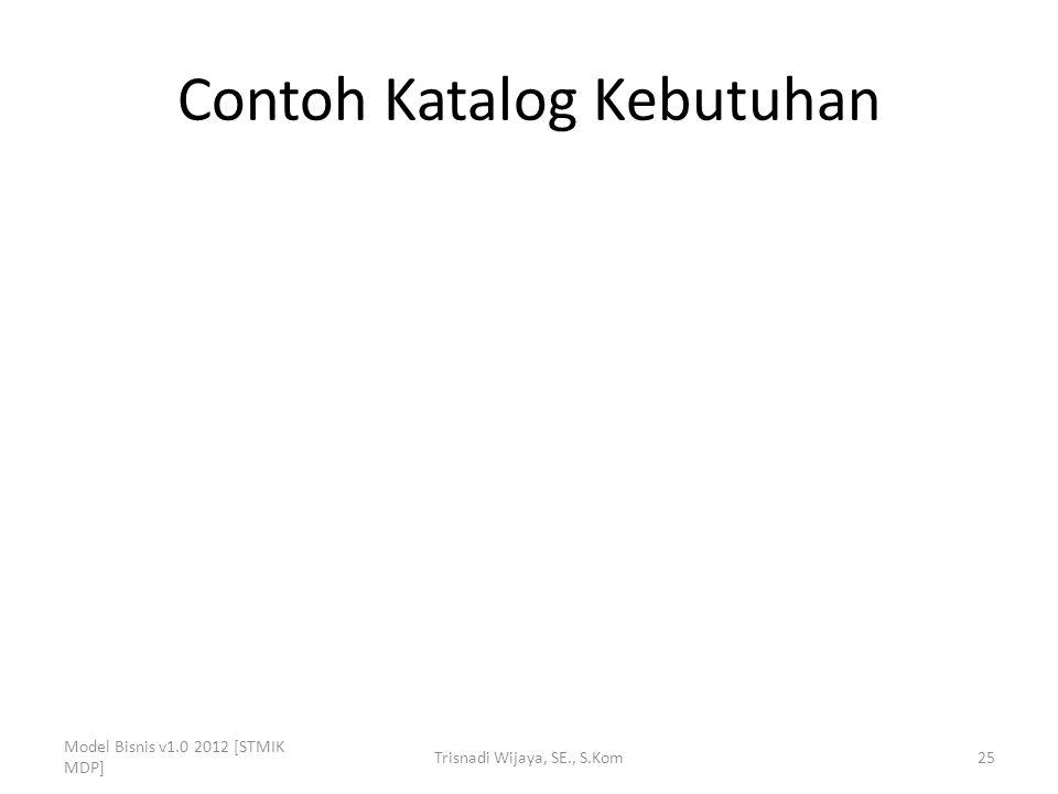 Contoh Katalog Kebutuhan Model Bisnis v1.0 2012 [STMIK MDP] Trisnadi Wijaya, SE., S.Kom25
