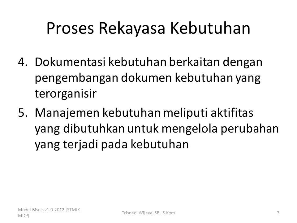 Proses Rekayasa Kebutuhan 4.Dokumentasi kebutuhan berkaitan dengan pengembangan dokumen kebutuhan yang terorganisir 5.Manajemen kebutuhan meliputi akt