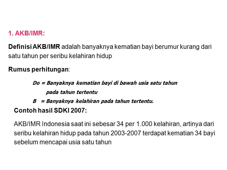 Contoh hasil SDKI 2007: AKB/IMR Indonesia saat ini sebesar 34 per 1.000 kelahiran, artinya dari seribu kelahiran hidup pada tahun 2003-2007 terdapat kematian 34 bayi sebelum mencapai usia satu tahun Do = Banyaknya kematian bayi di bawah usia satu tahun pada tahun tertentu B = Banyaknya kelahiran pada tahun tertentu.