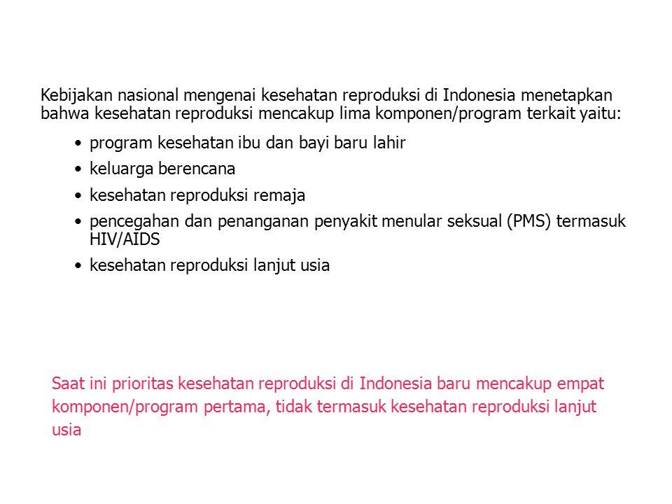 Kebijakan nasional mengenai kesehatan reproduksi di Indonesia menetapkan bahwa kesehatan reproduksi mencakup lima komponen/program terkait yaitu: prog