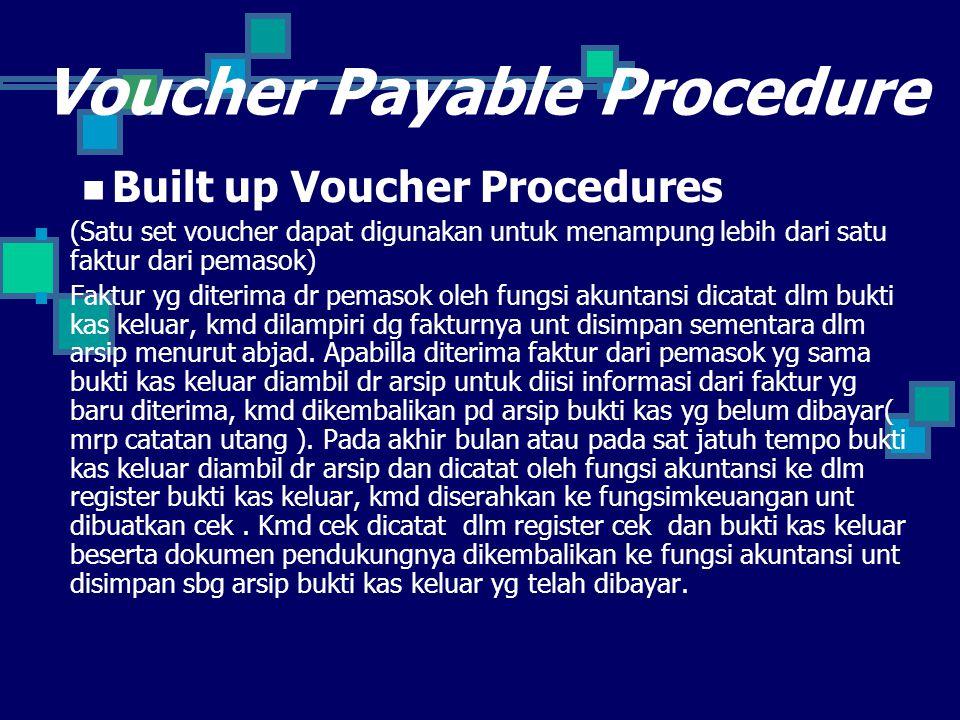 Voucher Payable Procedure Built up Voucher Procedures (Satu set voucher dapat digunakan untuk menampung lebih dari satu faktur dari pemasok) Faktur yg