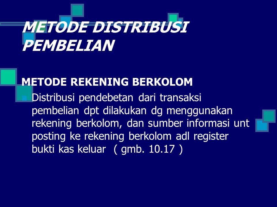 METODE DISTRIBUSI PEMBELIAN METODE REKENING BERKOLOM Distribusi pendebetan dari transaksi pembelian dpt dilakukan dg menggunakan rekening berkolom, da