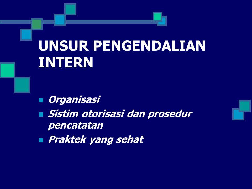 UNSUR PENGENDALIAN INTERN Organisasi Sistim otorisasi dan prosedur pencatatan Praktek yang sehat