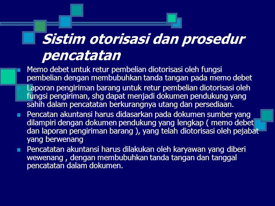 Sistim otorisasi dan prosedur pencatatan Memo debet untuk retur pembelian diotorisasi oleh fungsi pembelian dengan membubuhkan tanda tangan pada memo