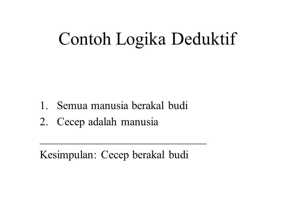 Contoh Logika Deduktif 1.Semua manusia berakal budi 2.Cecep adalah manusia _____________________________ Kesimpulan: Cecep berakal budi