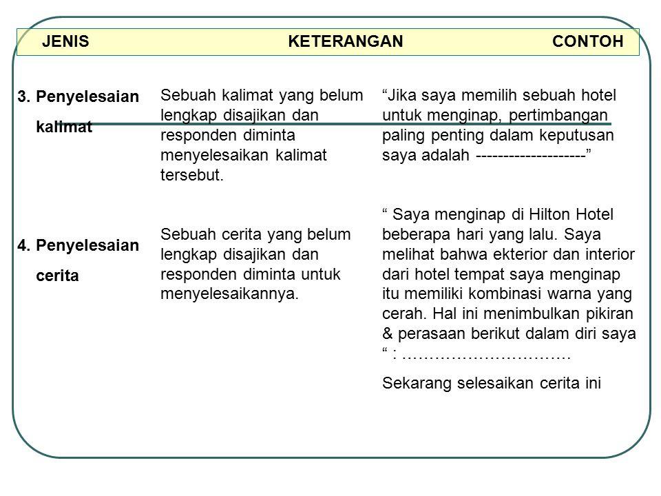 JENIS KETERANGAN CONTOH 3. Penyelesaian kalimat 4. Penyelesaian cerita Sebuah kalimat yang belum lengkap disajikan dan responden diminta menyelesaikan