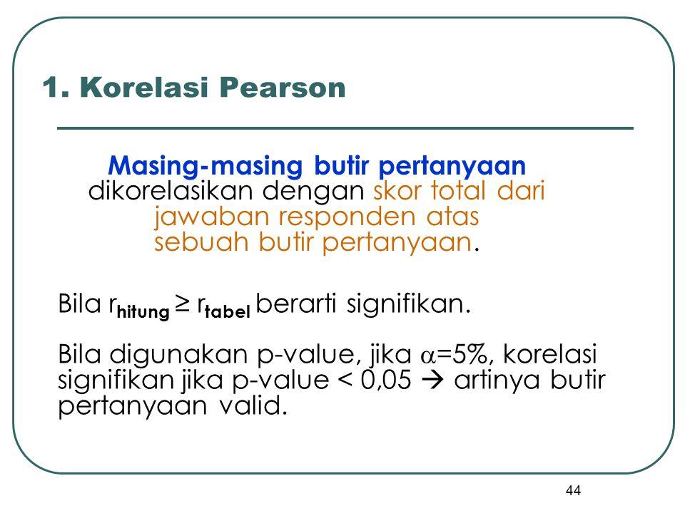 44 Masing-masing butir pertanyaan dikorelasikan dengan skor total dari jawaban responden atas sebuah butir pertanyaan. 1. Korelasi Pearson Bila r hitu