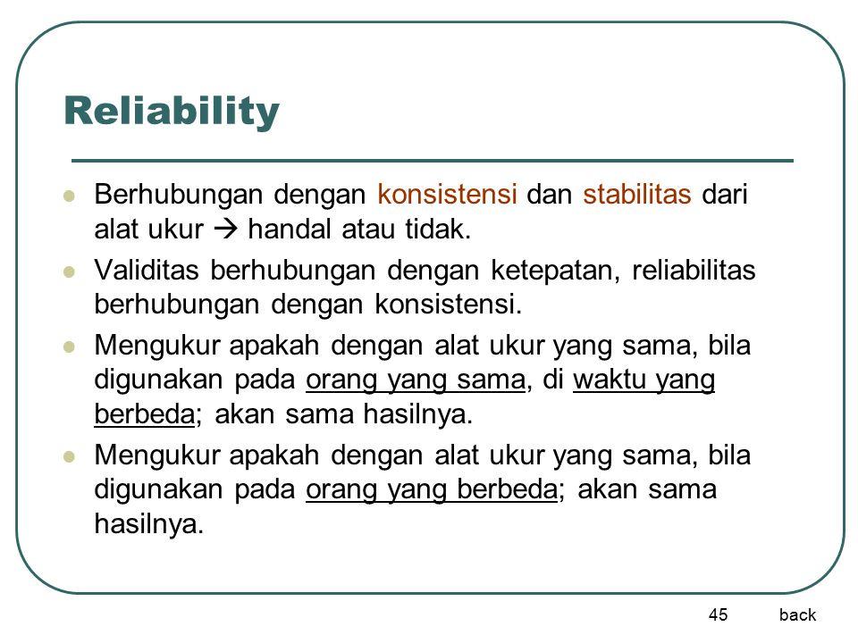 45 Reliability Berhubungan dengan konsistensi dan stabilitas dari alat ukur  handal atau tidak. Validitas berhubungan dengan ketepatan, reliabilitas