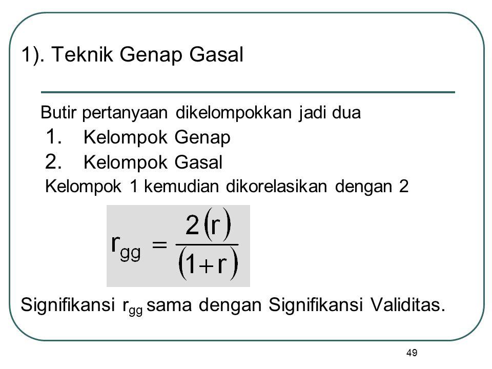 49 1). Teknik Genap Gasal Butir pertanyaan dikelompokkan jadi dua 1. Kelompok Genap 2. Kelompok Gasal Kelompok 1 kemudian dikorelasikan dengan 2 Signi