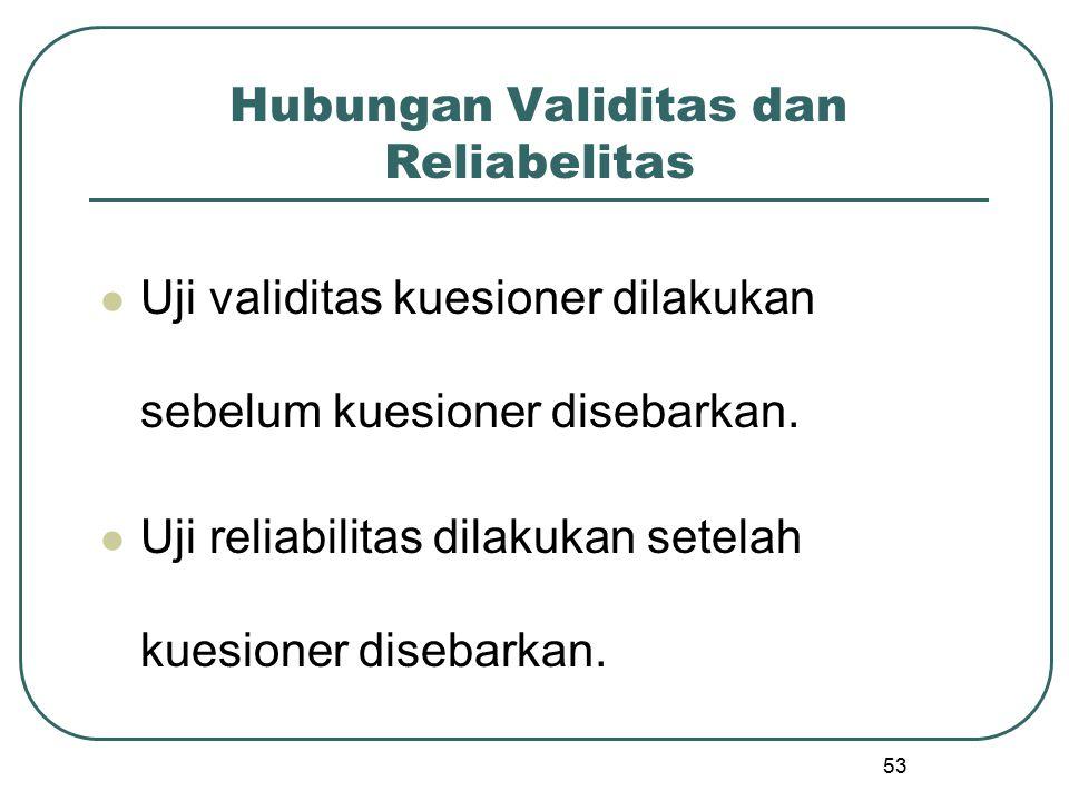 53 Hubungan Validitas dan Reliabelitas Uji validitas kuesioner dilakukan sebelum kuesioner disebarkan. Uji reliabilitas dilakukan setelah kuesioner di