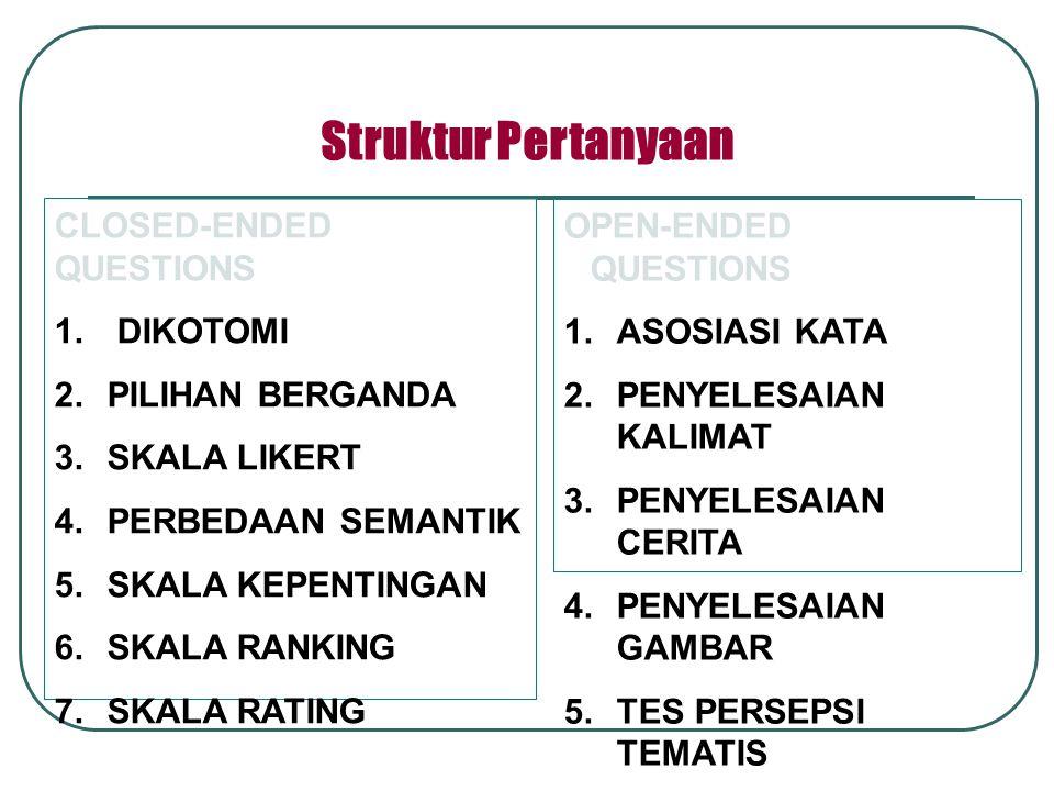 CLOSED-ENDED QUESTIONS 1. DIKOTOMI 2.PILIHAN BERGANDA 3.SKALA LIKERT 4.PERBEDAAN SEMANTIK 5.SKALA KEPENTINGAN 6.SKALA RANKING 7.SKALA RATING OPEN-ENDE