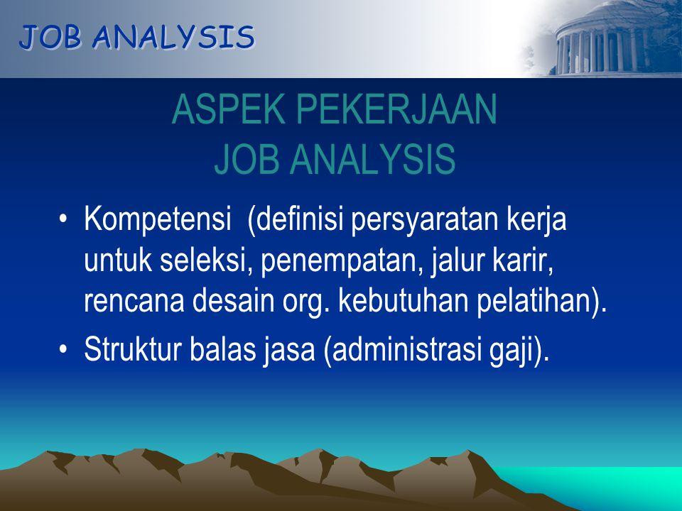 JOB ANALYSIS ASPEK PEKERJAAN JOB ANALYSIS Kompetensi (definisi persyaratan kerja untuk seleksi, penempatan, jalur karir, rencana desain org.