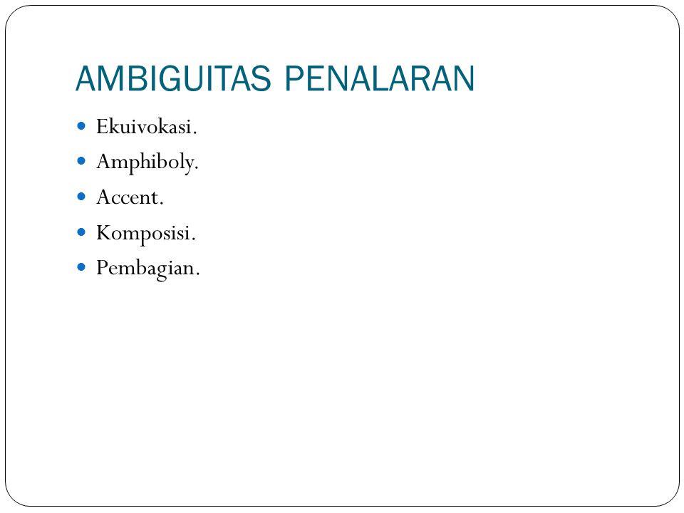 AMBIGUITAS PENALARAN Ekuivokasi. Amphiboly. Accent. Komposisi. Pembagian.