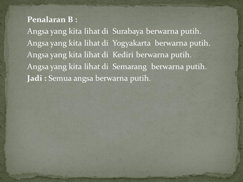 Penalaran B : Angsa yang kita lihat di Surabaya berwarna putih.