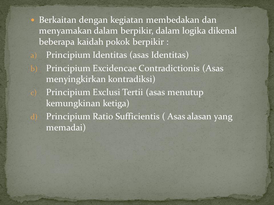 Berkaitan dengan kegiatan membedakan dan menyamakan dalam berpikir, dalam logika dikenal beberapa kaidah pokok berpikir : a) Principium Identitas (asas Identitas) b) Principium Excidencae Contradictionis (Asas menyingkirkan kontradiksi) c) Principium Exclusi Tertii (asas menutup kemungkinan ketiga) d) Principium Ratio Sufficientis ( Asas alasan yang memadai)