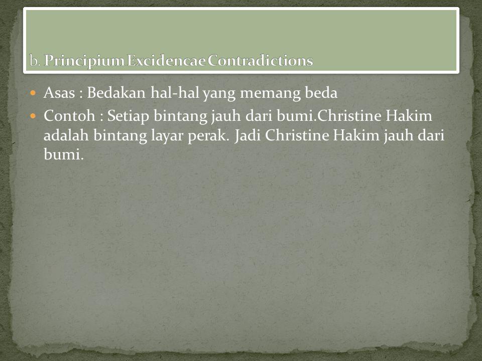 Asas : Bedakan hal-hal yang memang beda Contoh : Setiap bintang jauh dari bumi.Christine Hakim adalah bintang layar perak.