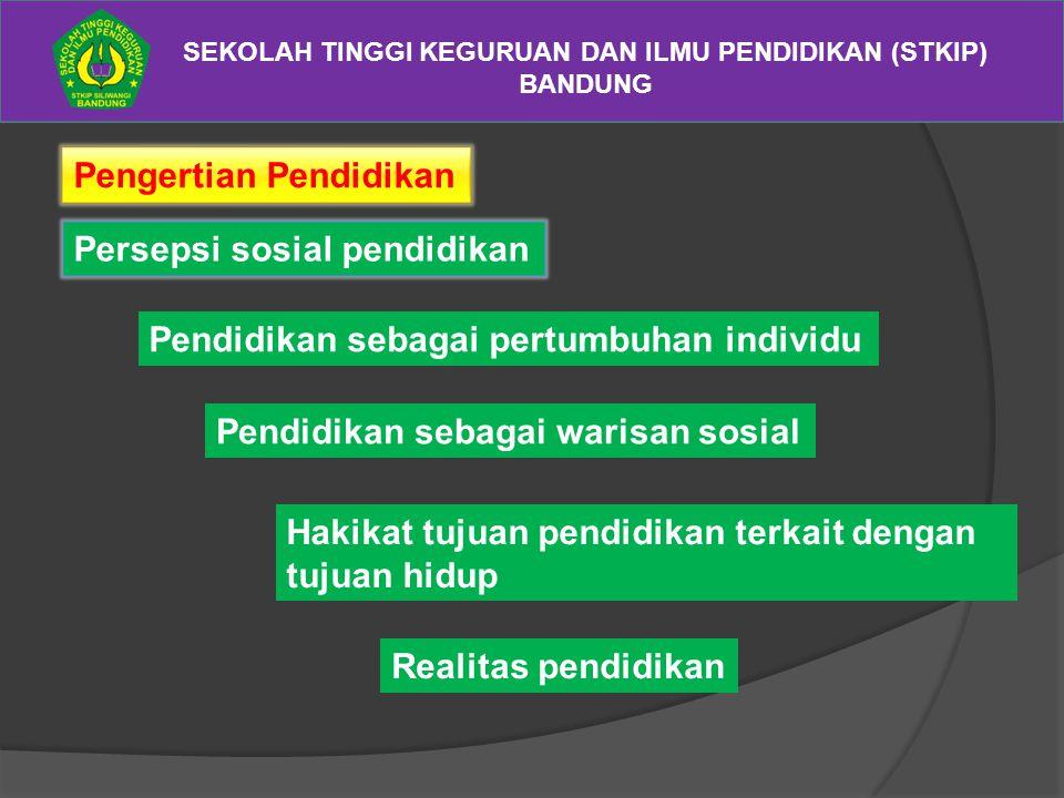 SEKOLAH TINGGI KEGURUAN DAN ILMU PENDIDIKAN (STKIP) BANDUNG Pengertian Pendidikan Persepsi sosial pendidikan Pendidikan sebagai pertumbuhan individu P