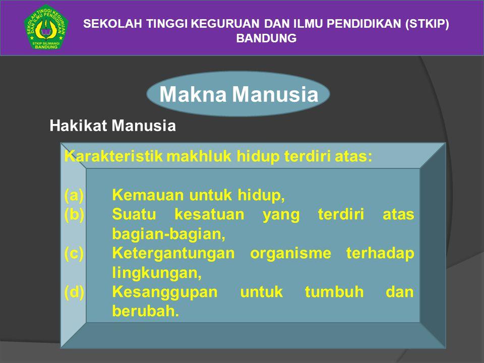 SEKOLAH TINGGI KEGURUAN DAN ILMU PENDIDIKAN (STKIP) BANDUNG Makna Manusia Hakikat Manusia Karakteristik makhluk hidup terdiri atas: (a) Kemauan untuk