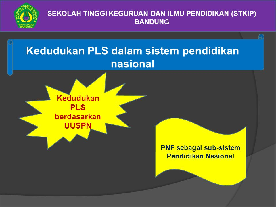 SEKOLAH TINGGI KEGURUAN DAN ILMU PENDIDIKAN (STKIP) BANDUNG Kedudukan PLS dalam sistem pendidikan nasional Kedudukan PLS berdasarkan UUSPN PNF sebagai