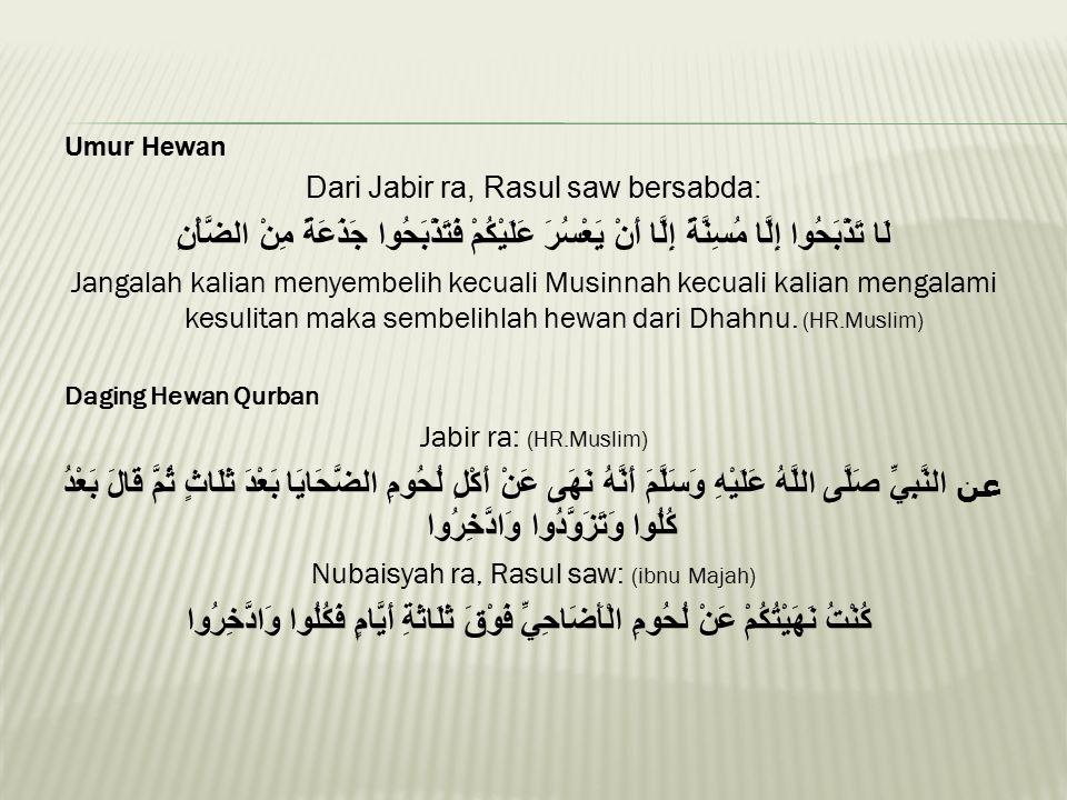 Umur Hewan Dari Jabir ra, Rasul saw bersabda: لَا تَذْبَحُوا إِلَّا مُسِنَّةً إِلَّا أَنْ يَعْسُرَ عَلَيْكُمْ فَتَذْبَحُوا جَذَعَةً مِنْ الضَّأْنِ Jan
