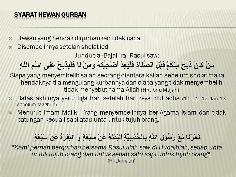  Hewan yang hendak diqurbankan tidak cacat  Disembelihnya setelah sholat ied Jundub al-Bajali ra, Rasul saw: مَنْ كَانَ ذَبَحَ مِنْكُمْ قَبْلَ الصَّ