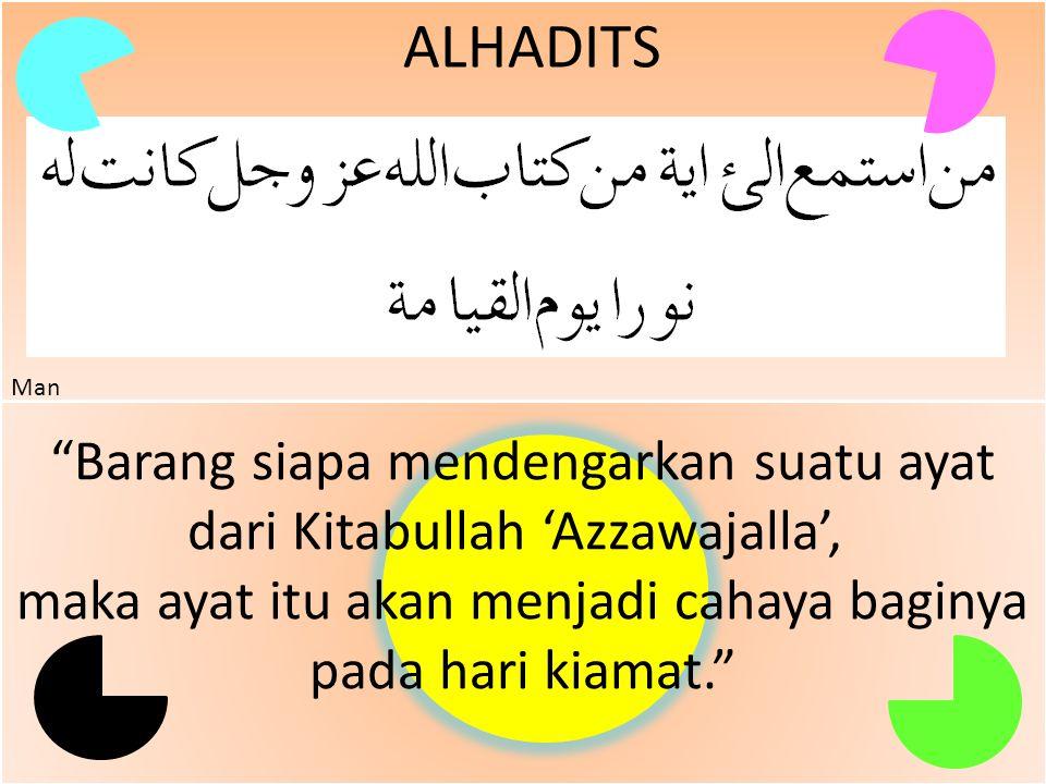 """ALHADITS HR. Mutafaq 'alaih """"Barang siapa yang dikehendaki Allah dengan kebaikan maka Allah menjadikannya ia pandai mengenai agama dan ia diilhami pet"""