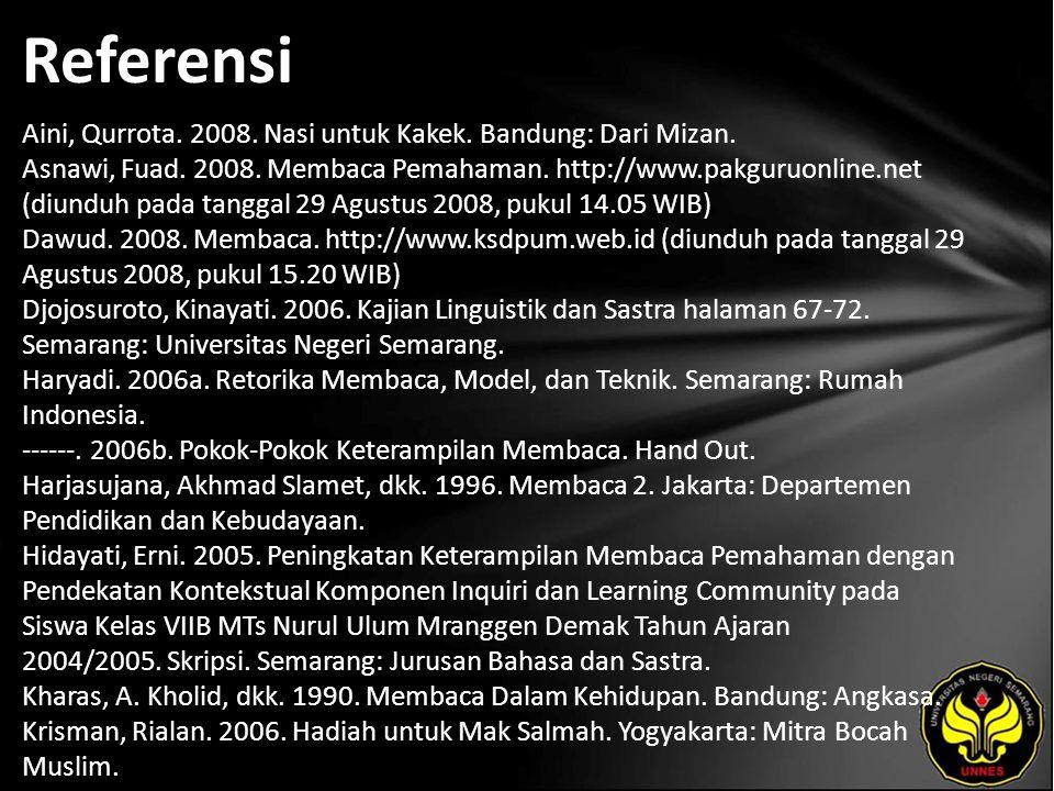 Referensi Aini, Qurrota. 2008. Nasi untuk Kakek. Bandung: Dari Mizan. Asnawi, Fuad. 2008. Membaca Pemahaman. http://www.pakguruonline.net (diunduh pad