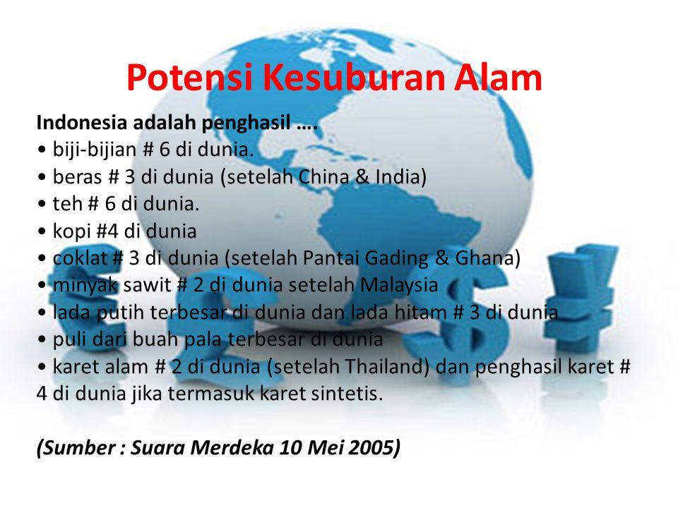 Potensi Kesuburan Alam Indonesia adalah penghasil ….