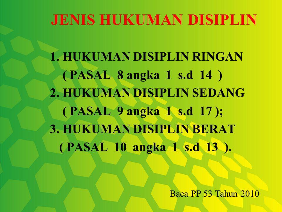 Pelanggaran Disiplin  PNS yang melakukan pelangggaran disiplin dijatuhi hukuman disiplin, yakni berdasarkan Pasal 7 PP No.53 Tahun 2010 ada tingkatan