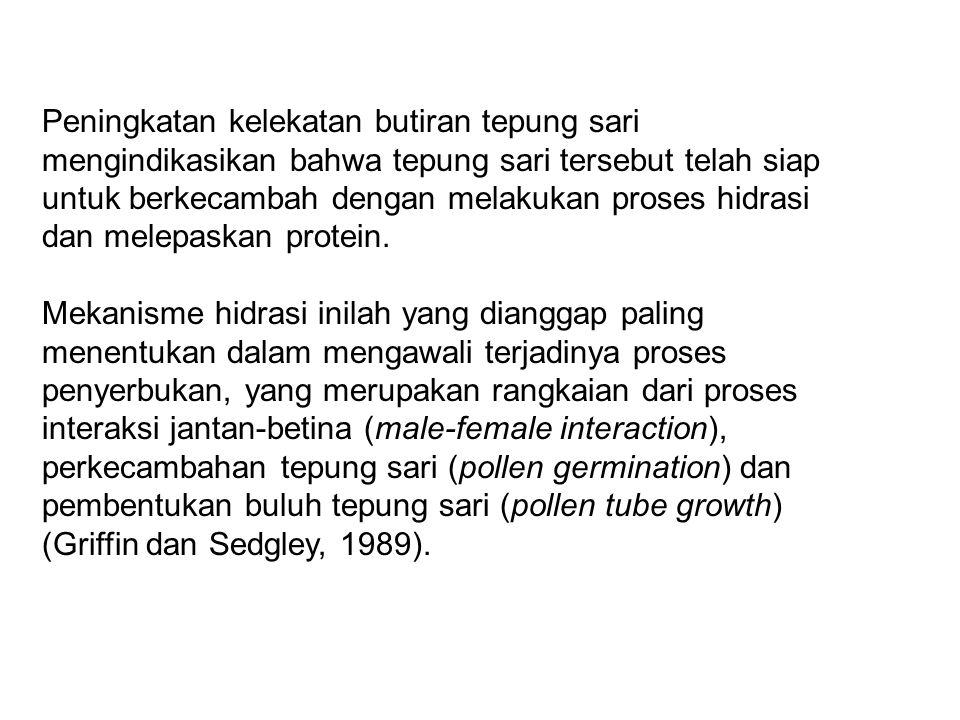 Putik Masa reseptif putik biasanya ditandai dengan : perubahan warna putik menjadi lebih terang pembesaran pori-pori pada kepala putik tangkai putik berangsur menjadi lurus permukaan putik memproduksi sekresi Secara visual, reseptivitas putik dapat dideteksi dari perubahan kelekatan (stickiness), warna dan bentuk, baik pada kepala maupun tangkai putik (Griffin dan Sedgley, 1989; Owens dkk, 1991).