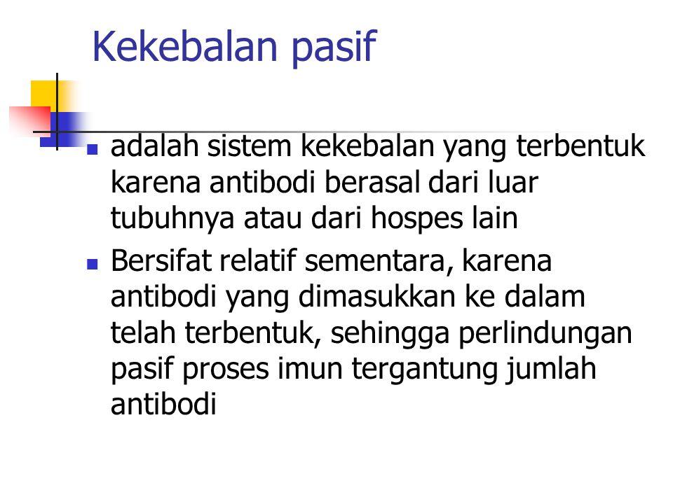 Kekebalan pasif adalah sistem kekebalan yang terbentuk karena antibodi berasal dari luar tubuhnya atau dari hospes lain Bersifat relatif sementara, ka