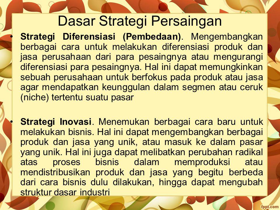 Dasar Strategi Persaingan Strategi Diferensiasi (Pembedaan). Mengembangkan berbagai cara untuk melakukan diferensiasi produk dan jasa perusahaan dari